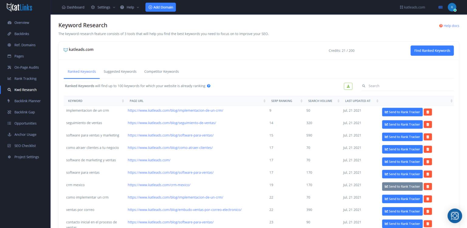 keyword research tool - ranked keywords
